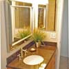 Bathroom with Italian tile, custom bamboo vanity and granite countertop